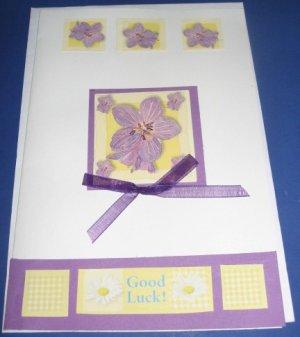 Good Luck violets flowers handmade greeting card M24