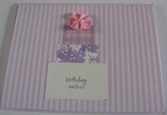 Birthday Wishes purple striped  Handmade Greeting Card B23