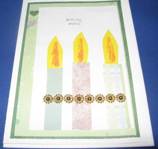 Birthday Wishes Candles Handmade Greeting Card B25