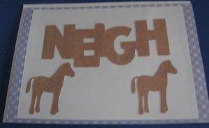 Birthday Neigh Horses Brown Handmade Greeting Card B35