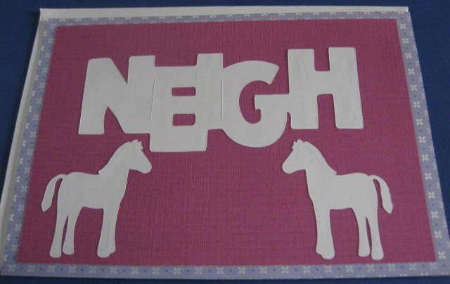 Birthday Neigh Horses white Handmade Greeting Card B36