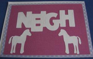 Birthday Neigh Horses white Handmade Greeting Card B36