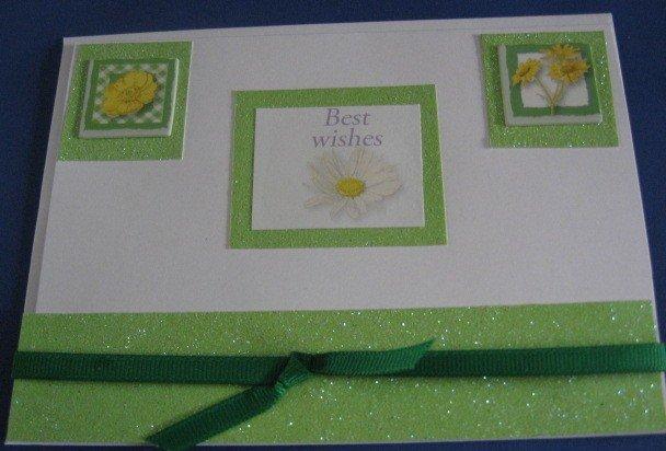 Birthday Best Wishes yellow flowers Handmade Greeting Card B38