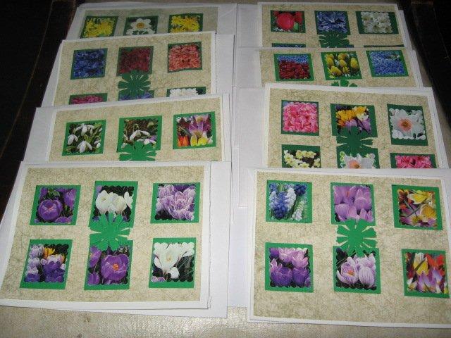 8 Spring Flower  Handmade  Note Cards N2