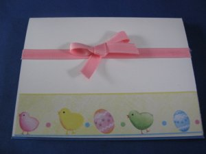 Easter Eggs and chick handmade Easter card E1