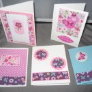 Butterflies and flowers handmade greeting card assortment lot of 5 A23