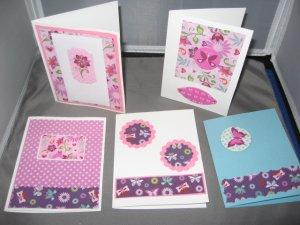 Butterflies and flowers handmade greeting card assortment lot of 5 A23