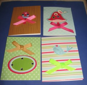 Mushrooms and birds handmade greeting card assortment lot of 4 A25