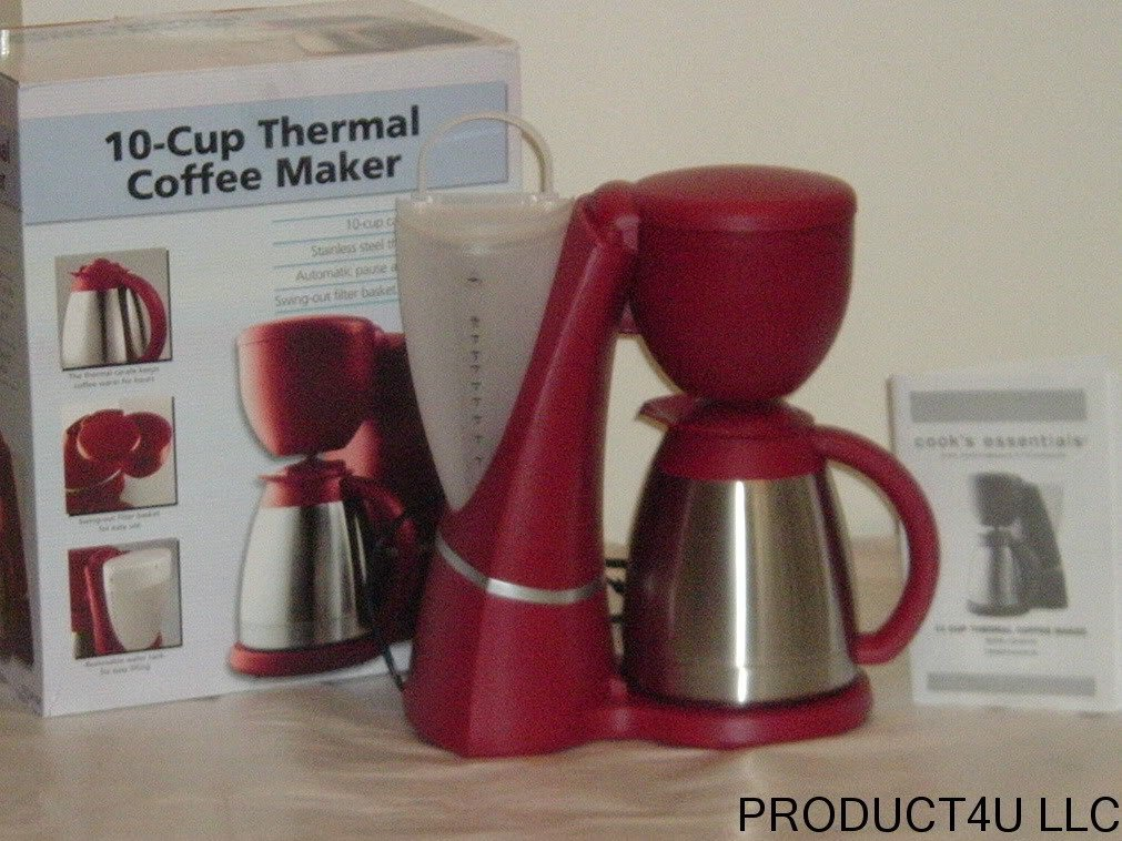 Thermal Coffee Maker Red : Cook s Essentials CECM10R Thermal Coffee Maker RED