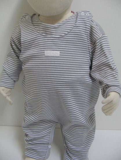 SUCETTE Antimicrobial Cotton Overall Set- 6M, Gray. Imported.