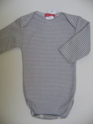 SUCETTE Antimicrobial Cotton Long sleeved Bodysuit- 6M, Grey. Imported.