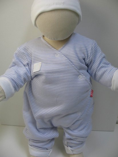 SUCETTE Antimicrobial Cotton Coverall with white cap- 6M, Sky blue. Imported.