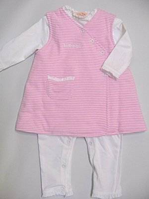 SUCETTE Antimicrobial Cotton Body suit and Dress Set- 6M, Rose. Imported.