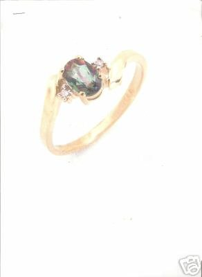 10K Solid Gold Diamond and Topaz Ring size 6.5