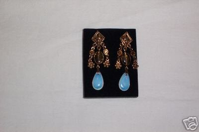 Avon Golden Beaded Drop pierced Earrings