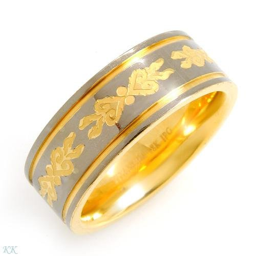 Elegant Gents Ring Crafted in 18K Gold plated Titanium - Size 10.5.
