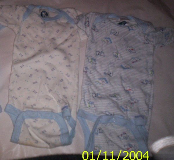 2 Gerber Onesies (Blue ) Puppies and Bones Theme *NEWBORN*