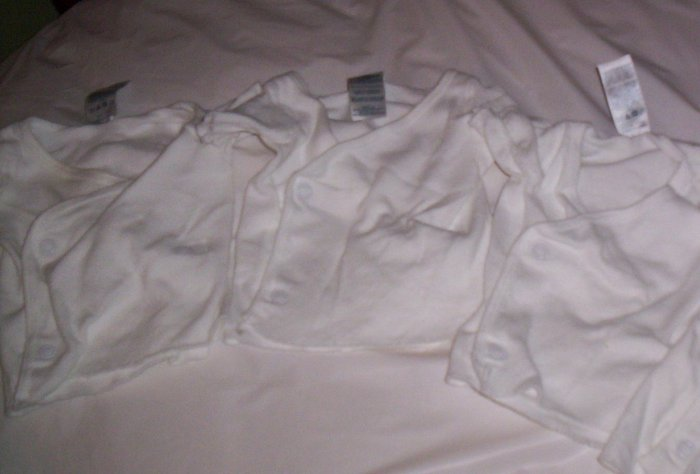 Gerber Snap Under Tshirts 0-3 Months White 4