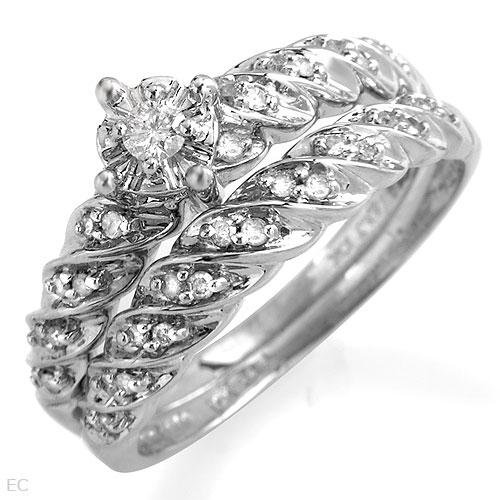 10K Engagement Ring Set in 10K White Gold
