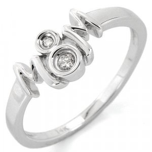 Mom Ring made in 14K White Gold and Diamonds Size 7