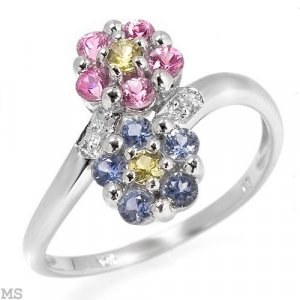 Diamonds & Sapphire Ring  in Solid White Gold - Size 7
