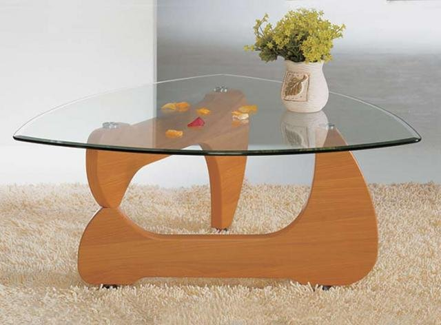 Noguchi style coffee table cherry finish (triangular-shaped glas
