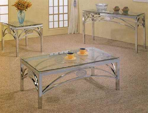 Chrome finish coffee table 7504