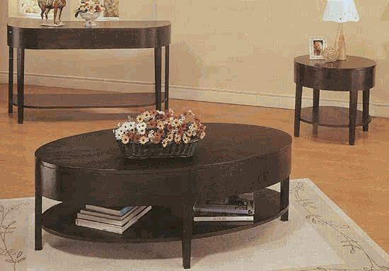 Solid wood coffee table with 2 levels. Cappuccino finish 3941 (3