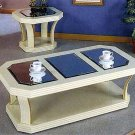 White lacquer end table with bevelled mirror and brass trim 3257
