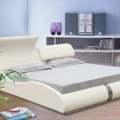 Modern White leather Stella platform bed (Queen size)