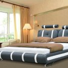 Modern leather Black & White Cleopatra platform bed (Queen Size)