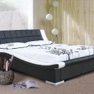 Modern Black & White leather Devis Platform Bed (Queen Size)