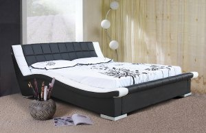 Modern Black & White leather Devis Platform Bed (Queen Size)