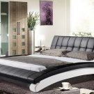Modern black leather platform bed (Full size)
