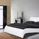 Modern White Leather Platform Bed Gaga (Queen size)