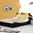 Yukatan Modern Leather Black & orange platform bed (Queen size)