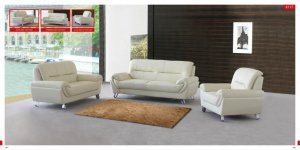 Almond Half Top Grain Leather Living Room 3pc Sofa Set