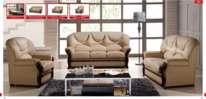 Almond Italian Leather Sofa Set with Wooden Accents