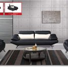 Black Leather Sofa Set with Attached White Pillows
