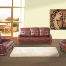 BROWN COLOR LEATHER CONTEMPORARY LIVING ROOM SET