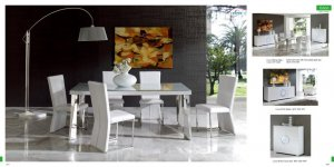 Coco Modern Dining Set White with Leather Accent