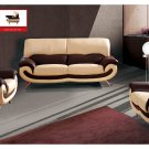 Contemporary 2-tone Half Genuine Leather Living Room Set Terza