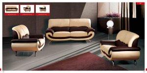 Contemporary 2-tone Half Genuine Leather Living Room Set Terza