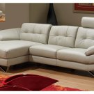 Dallas Light Grey Genuine Italian Leather Sectional
