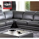 Grey Italian Leather Sectional with Adjustable Headrests