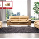 Italian Leather Living Room Set with Adjustable Arms Beige color