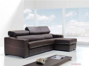 Lucas Full Leather Modern Spanish Made Sectional Storage Sofabed