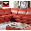 Orange Italian Leather Sectional with Adjustable Headrests