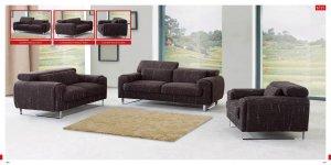 Modern Brown Sofa Set with Adjustable Headrests