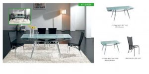 Modern Metal and Glass Constructed Convenient Dining Room Set